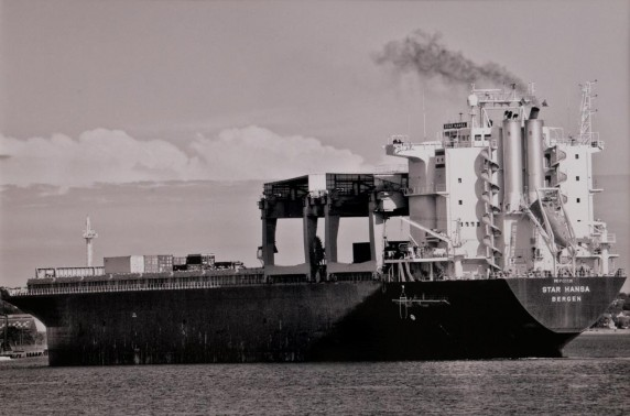 Cargo Ship on the Tay by Eva Harvey - Mono Print 2nd