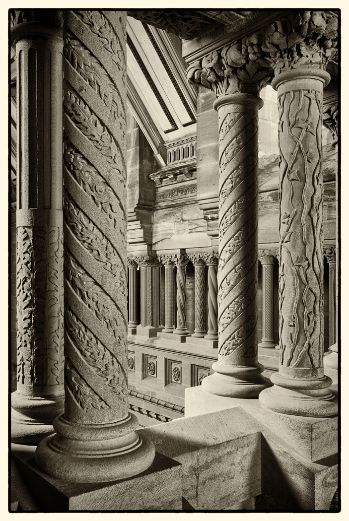 Mono Print - 1st Place: Pillars, Hospitalfield Chapel by Margaret Kay